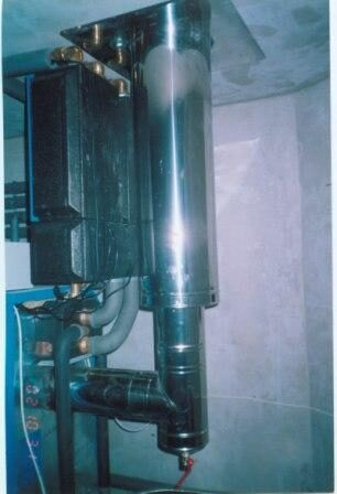 Подключение и сам дымоход для котла изготавливаются из нержавеющей кислотостойкой стали толщиной 0,5 - 0,8 мм.